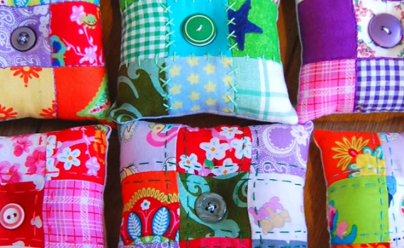 embroidered patchwork pincushion tutorial