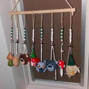 Studio Paars felt woodland / fairy tale baby mobile for babyshower with owl, gnome and toadstools