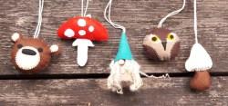 babyshower mobile vilt Studio Paars kabouter paddenstoel beer uil uiltjes