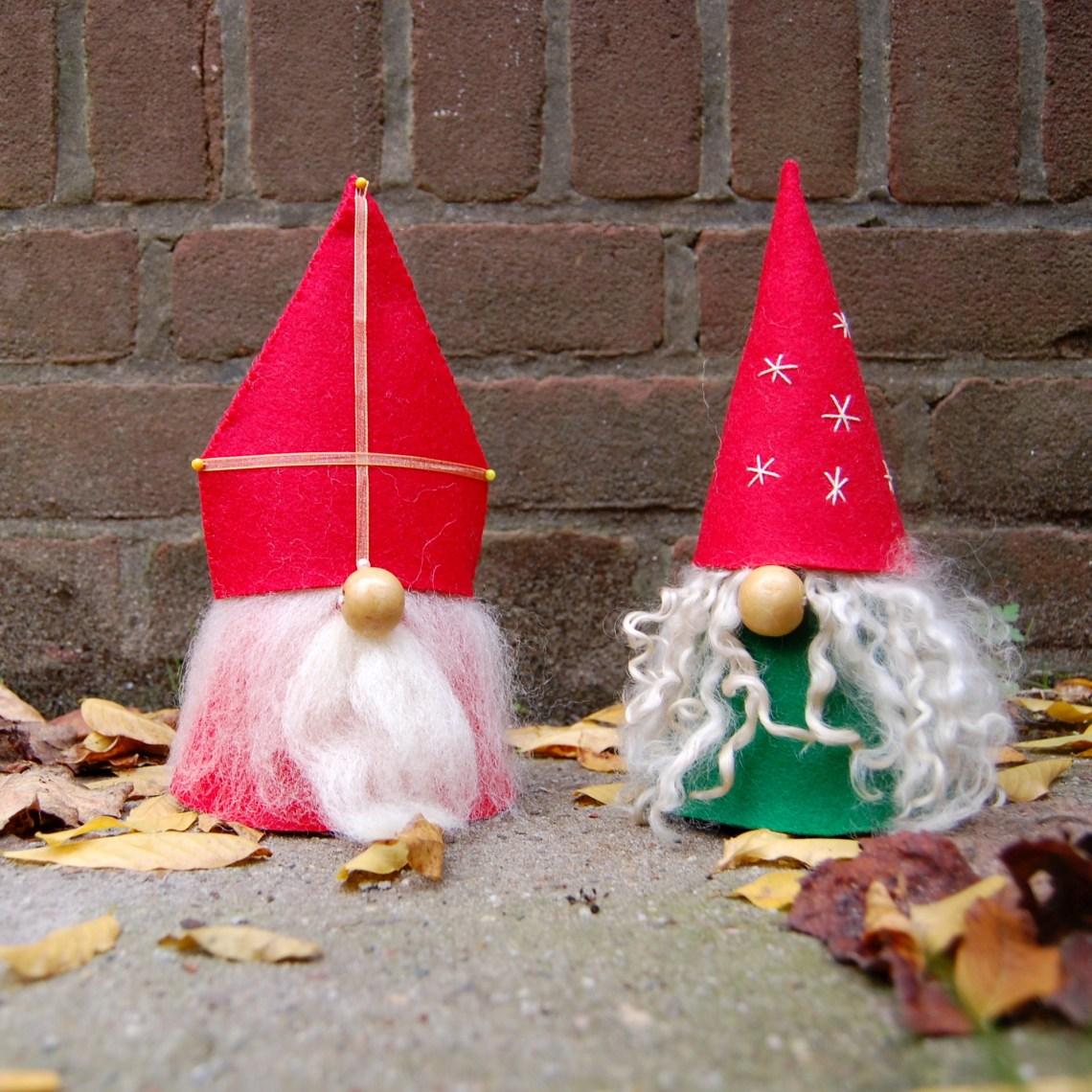 Sinterklaas en Kerstkabouter van vilt door studio paars