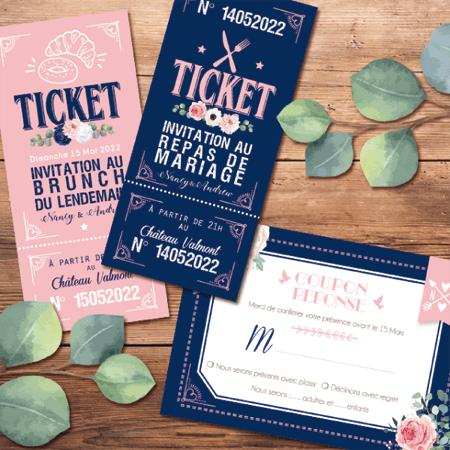 ticket cinema repas mariage carton d