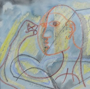 R. J. Lloyd (b. 1926) The Athlete 1951. Framed mixed media on paper signed and dated. Image dimensions: 16.5 by 16.5 cm (6.5 by 6.5 inches). Price: £380