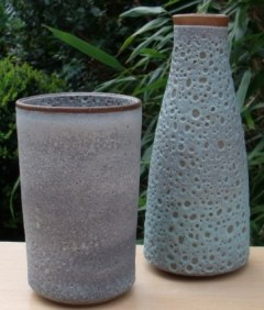 Deirdre Burnett grey cylinder and turquoise flask