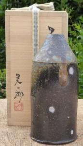Koichiro Isezaki (b. 1974) Black Bizen vase.