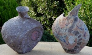 A pair of Julian King Salter hand-built vessels. Left: post 1995 Right: 1990-95