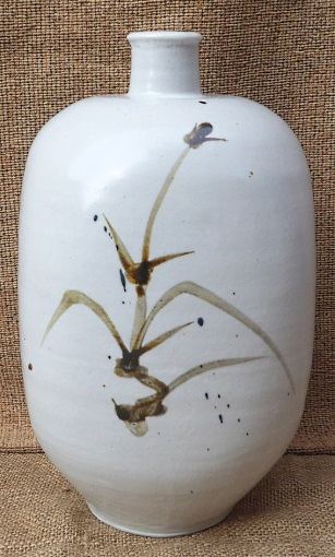 William Marshall thrown and altered bottle with brushwork decoration
