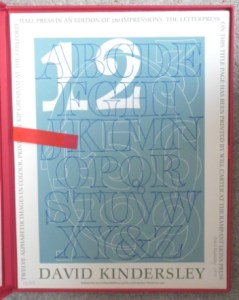 David Kindersley: Twelve Alphabetik images in colour and numbered 17/150 from 1983. Printed by Kip Gresham at the Chilford Hall Press in an edition of 150 impressions. The letterpress on this title page has been printed by Will Carter at the Rampant Lions Press. 1 portfolio with 13 sheets - all editioned. Print size is 445 mm by 340 mm. Price £345
