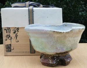 Seigan Yamane  - Hagi chawan with cut foot. The height is 9.9 cm (3.9 inches) and the outside diameter is 15.25 by 13.7 cm (6.0 by 5.4 inches). Price £225