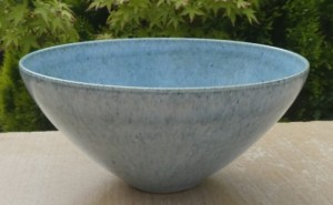 Alan Spencer Green (1932 - 2003) light blue glazed porcelain teabowl. Signed ASG inside the foot ring. The height is 7.0 cm (2.75 inches) and the maximum diameter is 15.25 cm (6.0 inches). Price £145