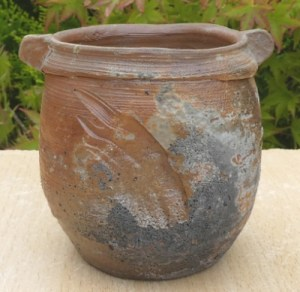 JL5 - Janet Leach incised lugged stoneware vase with ash deposits. Personal and St. Ives seal. Like all pots in this online exhibition images from other angles are available via e-mail. The height is 9.1 cm (3.6 inches) and the maximum diameter is 10.2 cm (4.0 inches). Price £275