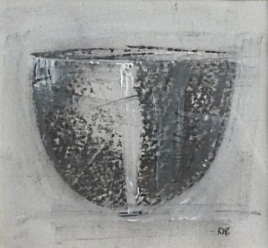 Robin Welch: Black and White Bowl 1998 - Mixed media on paper. Mounted and framed behind glass. The painting is 14.1 cm by 15.5 cm and the complete frame is 33.6 cm by 33.6 cm. £185