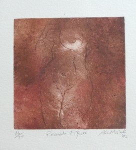 Aki Moriuchi - Female Figure 16/30 etching signed Aki Moriuchi '92. The image is 12.6 by 12.6 cm and the sheet is 28.0 cm by 19.6 cm. Unframed. £45