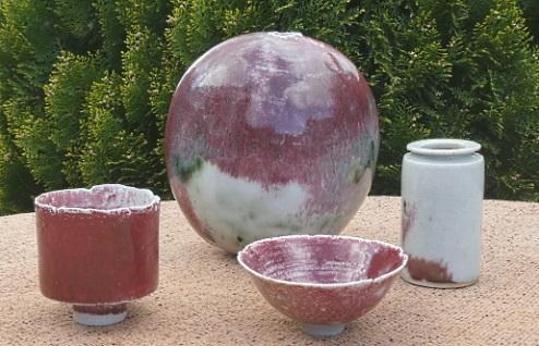 Derek Davis - a selection of porcelain studio pottery vessels