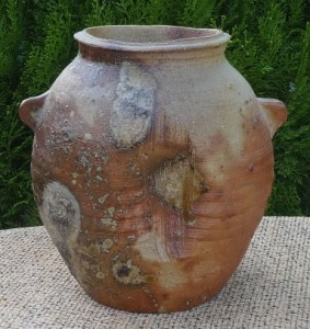 """TC08 - Janet Leach (1918 - 1997) Stoneware """"Bizen-style"""" vase with personal and Leach Pottery seal marks. The height is 15.5 cm (6.1 inches) and the maximum width to the edge of the lugs is 16.25 cm (6.4 inches). £395"""