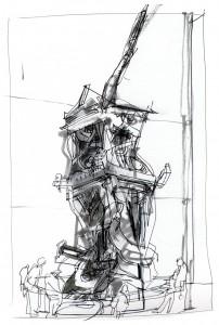 World Trade Center antennae drawing at Newseum | Veronica Lawlor