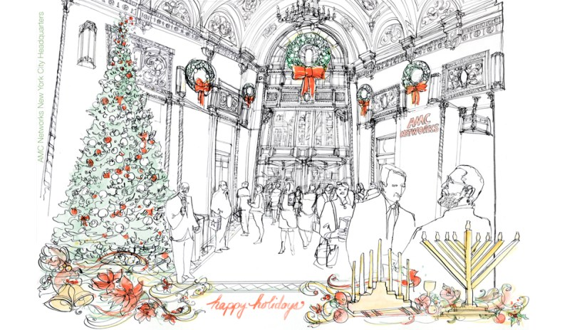 Holiday 2015 illustration for AMC Network by Veronica Lawlor