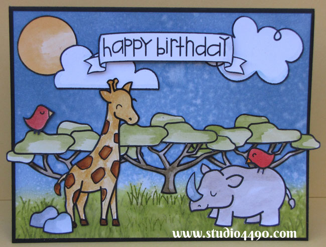 Happy Birthday Materials used: Stamps - Bon Voyage, Critters on the Savanna, Happy Haunting (Lawn Fawn), Sentiment Sampler (Paper Smooches), Cardstock - American Crafts, Knights; Distress Ink and Distress Markers.