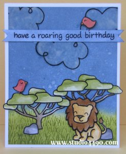 Have a Roaring Good Birthday Materials used: Stamps - Bon Voyage, Critters on the Savanna (Lawn Fawn); Cardstock - Knight; Vellum; Distress Inks and Distress Markers.