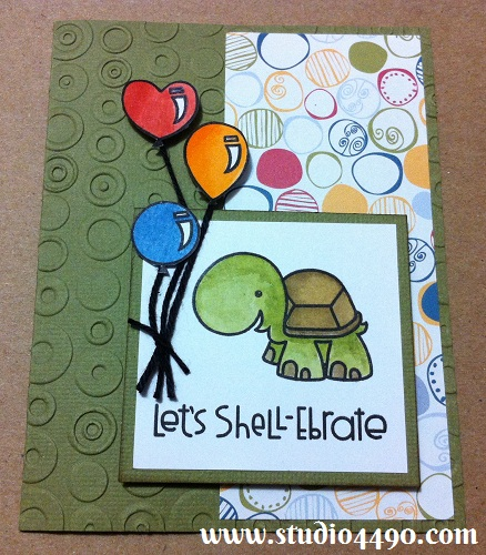 Let's Shell-Ebrate Materials used: Stamps - Hullabaloo, Party Posse (Paper Smooches); Cardstock - American Crafts, Knights; Designer Paper - Creative Memories; Bakers Twine - doodlebug design inc; Copic Markers; Distress Markers and Cuttlebug Embossing Folder -Provo Craft.