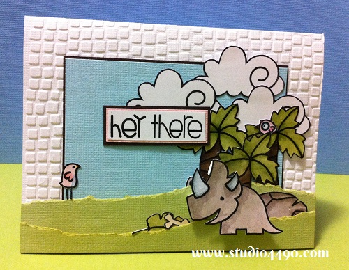 Hey There Materials used: Stamps - Cuteasaurus, Sentiment Sampler, Spring Groves (Paper Smooches); Cardstock - American Crafts, Knights; Distress Ink, Distress Markers and Embossing Folder (Provo Craft).