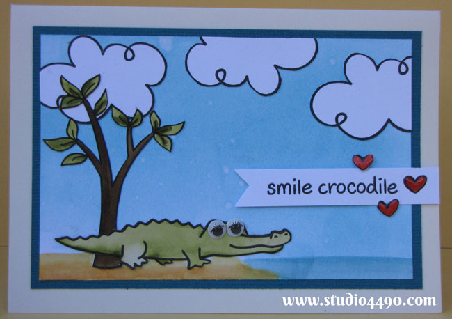 Smile Crocodile - Take 4 Materials used: Bon Voyage, Critters Down Under, Home Sweet Home (Lawn Fawn); Cardstock - American Crafts, Knight; Distress Ink, Distress Markers; Glossy Accents (Ranger) and Googly Eyes.