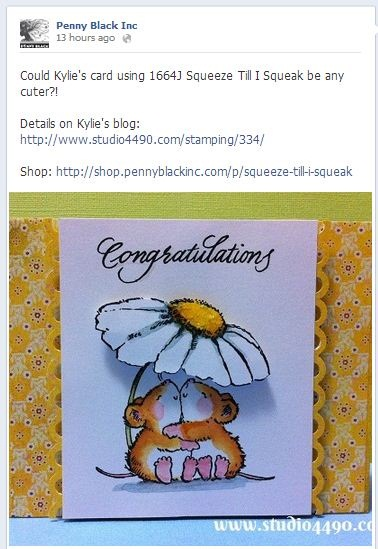 My card featured on the Penny Black Facebook page.