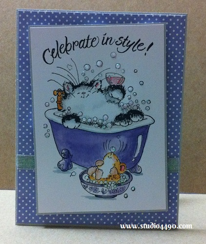 Celebrate In Style! Materials used: Stamps - ...in style! 2175E, It's your Day! 2097K (Penny Black); Distress Markers; Cardstock - American Crafts, Knight; Designer Paper - Soleil 6x6 Paper Pad (Basic Grey); Ribbon (American Crafts); and Stickles - Crystal (Ranger).