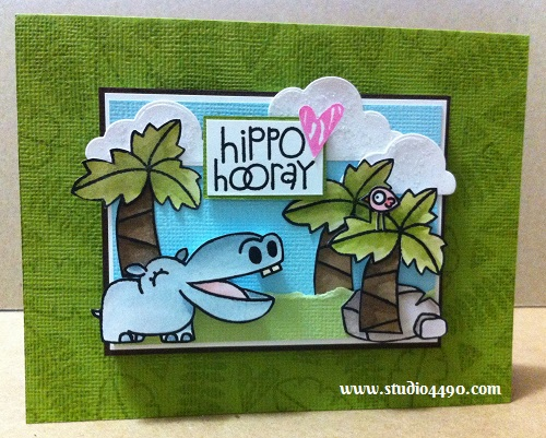 Hippo Hooray Materials used:  Stamps - Cuteasaurus, Zoo Crew (Paper Smooches); Dies (Lawn Fawn); Cardstock - American Crafts, Knight; and Distress Stickles - Rock Candy (Ranger).