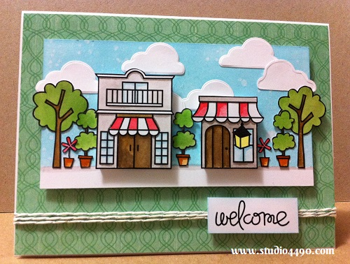 """Welcome Materials used: Stamps - Promenade, Simply Said (Paper Smooches); Designer Paper - 6-1/2"""" Paper Pad - Summer Breeze (KaiserCraft); Distress Inks; Distress Markers; Lawn Cuts (Lawn Fawn); and Lawn Trimmings (Lawn Fawn)."""