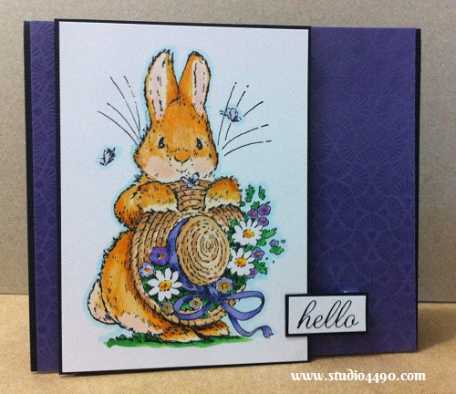 """Hello Materials used: Stamps - Bonnet Bunny 1440K (Penny Black), Salutations (Paper Smooches); Cardstock - American Crafts, Knight; Copic Markers and 6-1/2"""" Paper Pad - Miss Match (KaiserCraft)."""