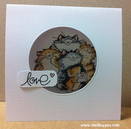 Love Materials used: Stamps - Purrr-fect Friends! 1746K (Penny Black), Simply Said (Paper Smooches), Critters Ever After (Lawn Fawn); Cardstock - American Crafts; Copic Markers; Dies - Spellbinders Nestabilities - Standard Circles Small; and Corner Chomper (We R Memory Keepers).