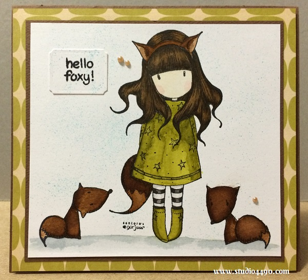 Hello Foxy Materials Used: The Fox (Gorjuss by DoCrafts);  Critters in the Forest (Lawn Fawn); Designer Paper - 8x8 Mini Deck TV Dinner (Cosmo Cricket); Cardstock - Assorted; Wink of Stella; Distress Markers; Pearls - Latte (KaiserCraft) and Nestabilities Large Labels (Spellbinders).
