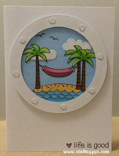 Life is Good Materials Used: Stamps - Life is Good (Lawn Fawn); Lawn Cuts - Spring Showers (Lawn Fawn); Die - Porthole (Silhouette); Patterned Paper - Unknown; Copic Markers; Distress Ink; and Wink of Stella - Clear.