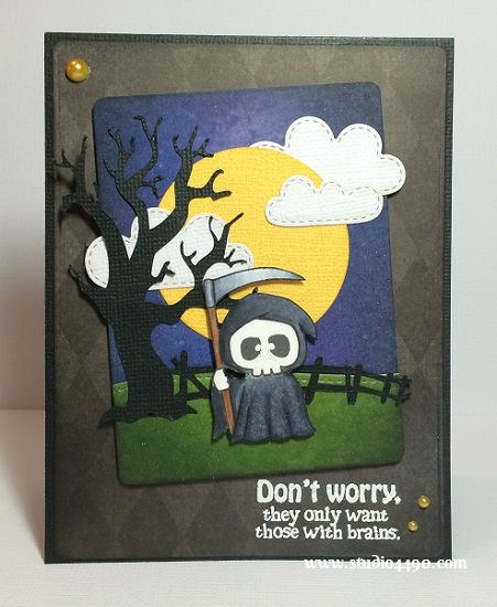 Don't worry, they only want those with brains Material used: Stamps - Hauntingly Delightful (There She Goes Clear Stamps);  Dies - Spring Showers, Stitched Hillside Borders (Lawn Fawn), Circles (Sizzix), Die-namics Blueprints 5 (My Favourite Things), Spooky Trail (Silhouette); Cardstock - American Crafts, Doodlebug Design; Designer Paper - The Bewitched Bundle (DCWV); Distress Inks; Copic Markers; Pearls - Yellow (KaiserCraft) and Wink of Stella.