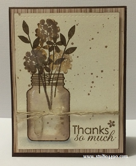 "Thanks So Much Materials used: Stamps - Crystal Clear (Paper Smooches); Cardstock - KaiserCraft, Unknown; Designer Paper: 6-1/2"" Paper Pad - Bow & Arrow (KaiserCraft); Distress Ink; Linen Thread (Stampin' Up!) and Wink of Stella."