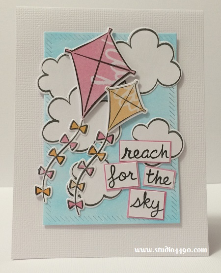 Reach for the sky Materials used: Stamps - Sunny Skies (Lawn Fawn); Dies - Sunny Skies (Lawn Fawn), In & Out Diagonal Stitched Rectangle STAX (MFT); Cardstock - Knights Smooth, American Crafts; Designer Paper - Rise & Shine (Amy Tangerine/American Crafts), and Wink of Stella.