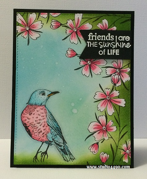 Friends Are The Sunshine of Life Materials used:  Stamps - Fly Free (KaiserCraft); Dies - Die-namics Blueprints 13 (MFT), Triplits - Banners (Sizzix); Cardstock - Knights Smooth, Unknown; Distress Inks, Copic Markers, Rhinestones (KaiserCraft) and Wink of Stella.
