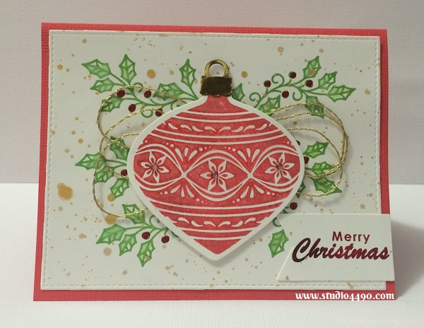 Merry Christmas (Red) Materials used: Stamps - Embellished Ornaments (Stampin' Up!), Dies - Delicate Ornament Thinlits (Stampin' Up!), Triplits - Banner (Sizzix), Blueprints 13 (MFT), Cardstock - American Crafts, Stampin' Up!; Inks - Distress Ink; Minc - Foil, Toner Paper; Wink of Stella; KindyGlitz, Metallic Thread, and Rhinestones (KaiserCraft).
