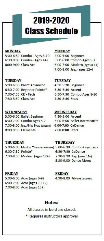 Class Schedule – Studio 5678