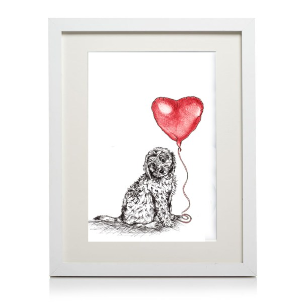 A4 framed cockapoo heart print