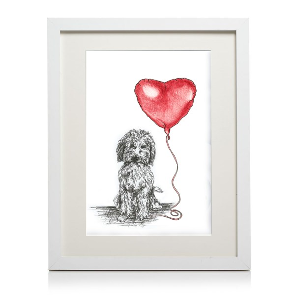 A4 framed labradoodle heart print
