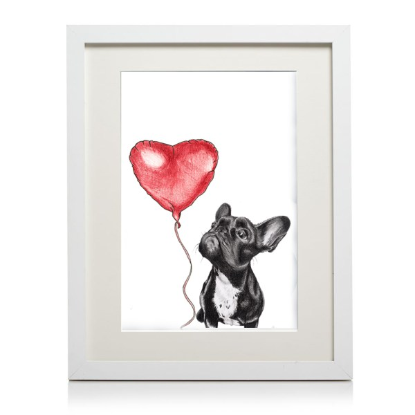 A4 french bulldog heart print