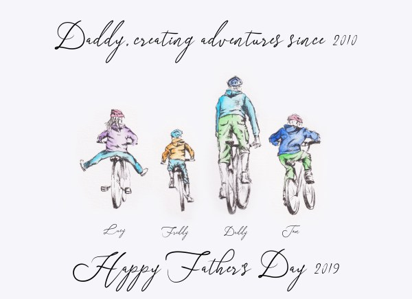 Father's Day Personalised Bike Family Portraits