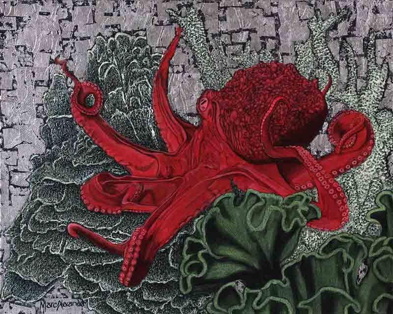 Red Octopus by Marc Alexander from his 'In The Balance' series, oil and silver leaf on canvas, 40cm by 50cm, (2015).
