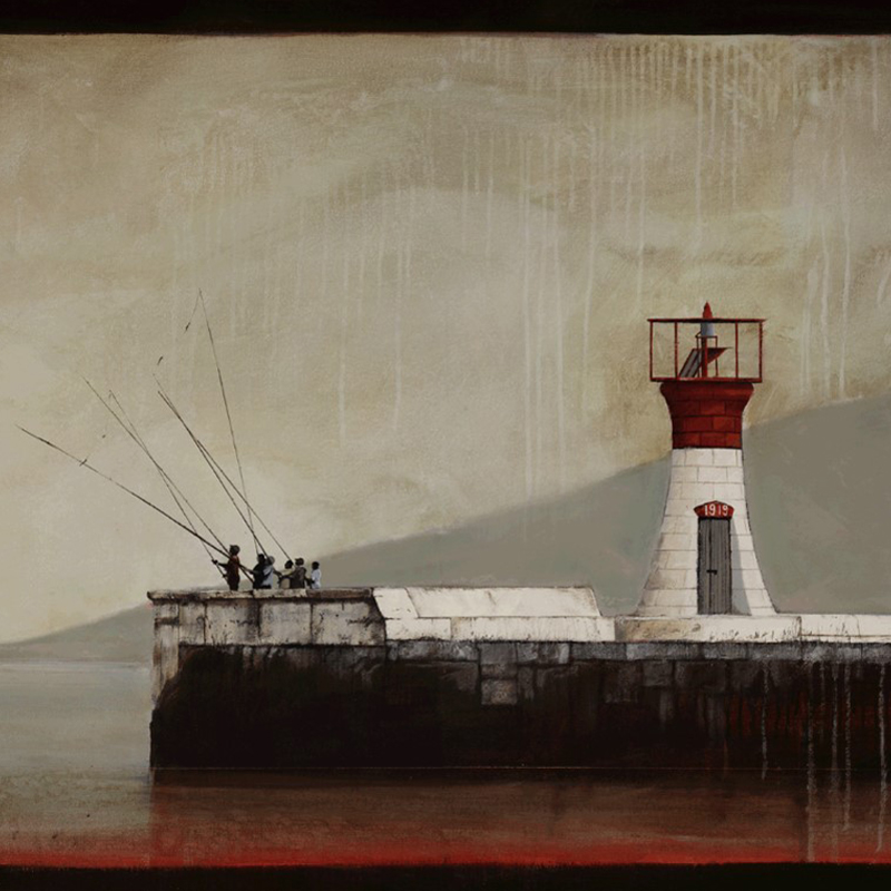 Kalk Bay Lighthouse (528) by Donna McKellar Artist Print on Canvas Detail.