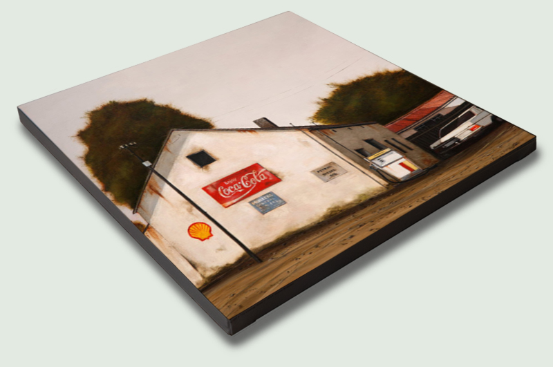 Pniel Garage (521) by Donna McKellar Square Stretched Canvas