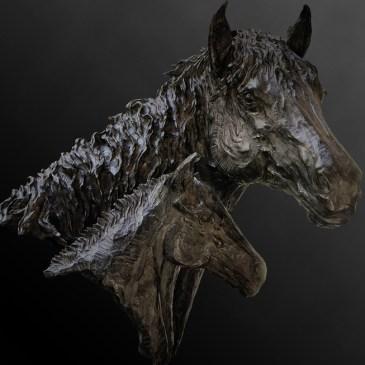 The Studio Art Gallery - Richard Gunston Sculptures - Mother and Foal Bust by Richard Gunston