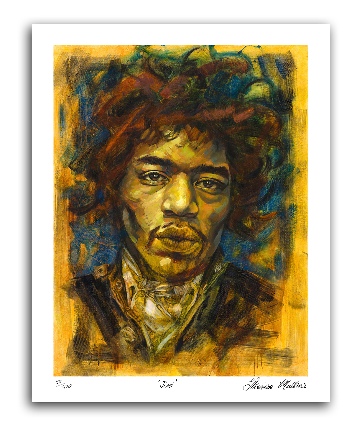 The Studio Art Gallery - Jimi Hendrix by Therese Mullins -Artist Print on Canvas