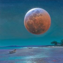Andrew Cooper | The Studio Art Gallery - Blood Moon, Churchhaven, Acrylic on Canvas, 95cm by 95cm
