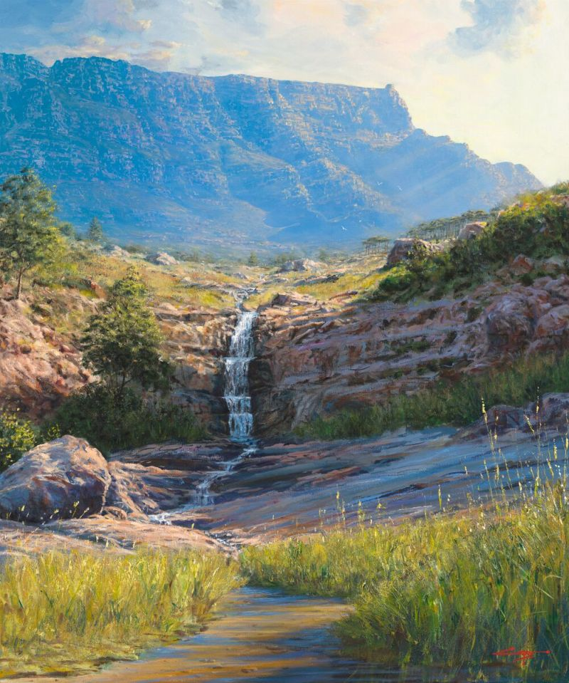 Andrew Cooper | The Studio Art Gallery - 'Deer Park, Table Mountain,' 120cm by 100cm, Acrylic on Canvas